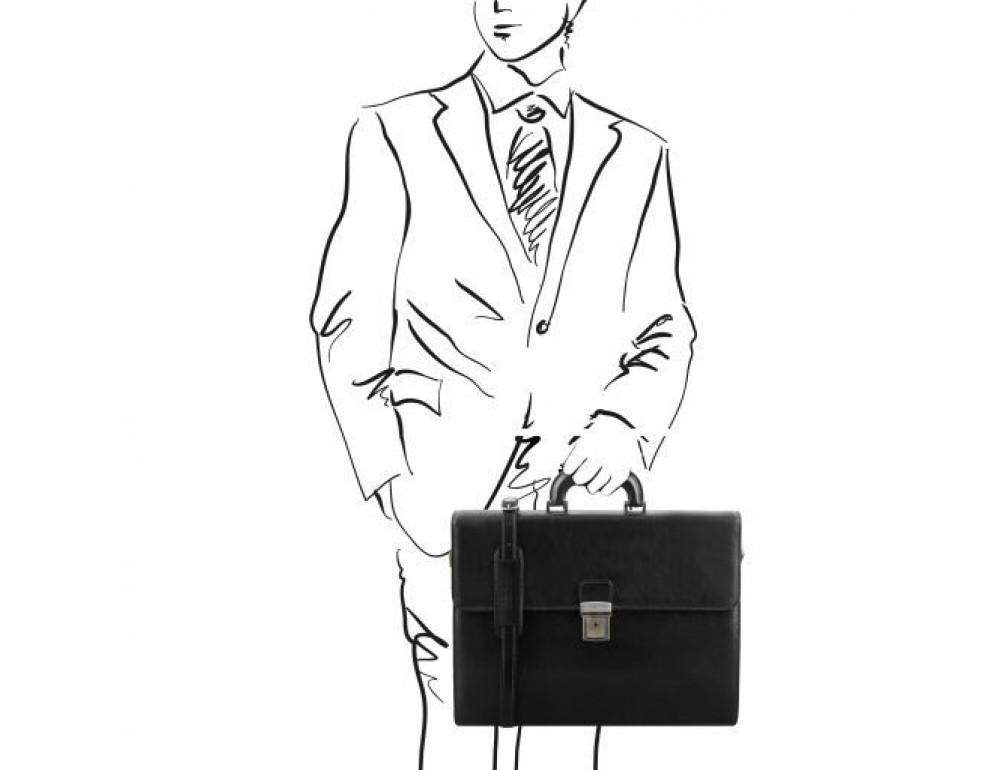 Чёрный мужской портфель Tuscany Leather TL141350 Black - Фото № 2