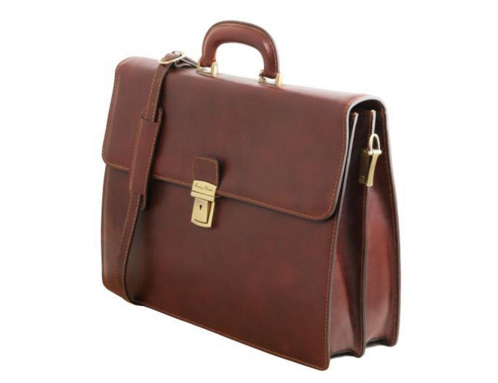 Чёрный мужской портфель Tuscany Leather TL141350 Black - Фото № 3