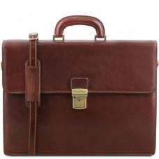 Коричневый кожаный портфель мужской Tuscany Leather TL141350 Brown