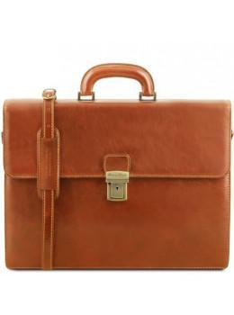 Коричневый кожаный портфель с кожаным подкладом Tuscany Leather TL141350 Med