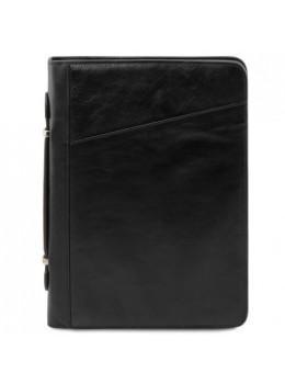 Чёрная кожаная папка большого размера CLAUDIO Tuscany Leather TL141404 Black