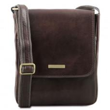 Тёмно-коричневая сумка мужская на плечо кожаная Tuscany Leather tl141408 dark brown