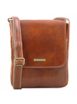 Светло-коричневая сумка мужская на плечо кожаная Leather tl141408 med