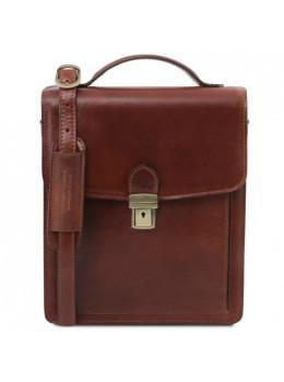 Большая кожаная барсетка мужская Tuscany Leather DAVID TL141424 Brown