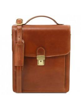 Светло-коричневая кожаная сумка-барсетка Tuscany Leather DAVID TL141424 Med