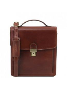 Коричнева шкіряна барсетка для чоловіка DAVID Tuscany Leather TL141425 Brown