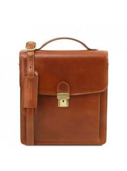 Светло-коричневая кожаная барсетка через плечо DAVID Tuscany Leather TL141425 Med