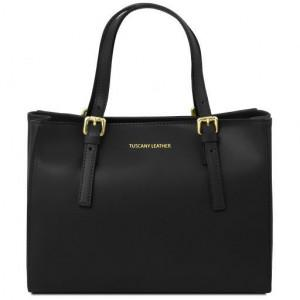 Женская кожаная сумка на два отделения Tuscany Leather Aura TL141434 Black