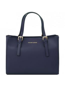 Темно-синя жіноча шкіряна сумка Tuscany Leather Aura TL141434 Navy