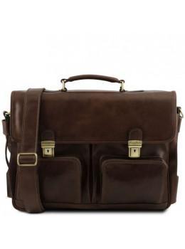 Большой кожаный портфель коричневого цвета Tuscany Leather TL141449 Brown