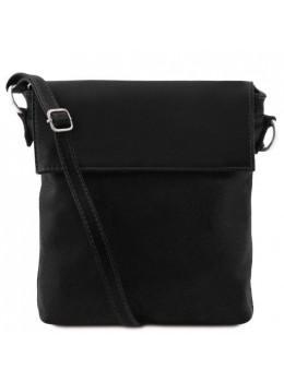 Чёрная кожаная сумка мессенджер с клапаном Tuscany Leather TL141511 Black