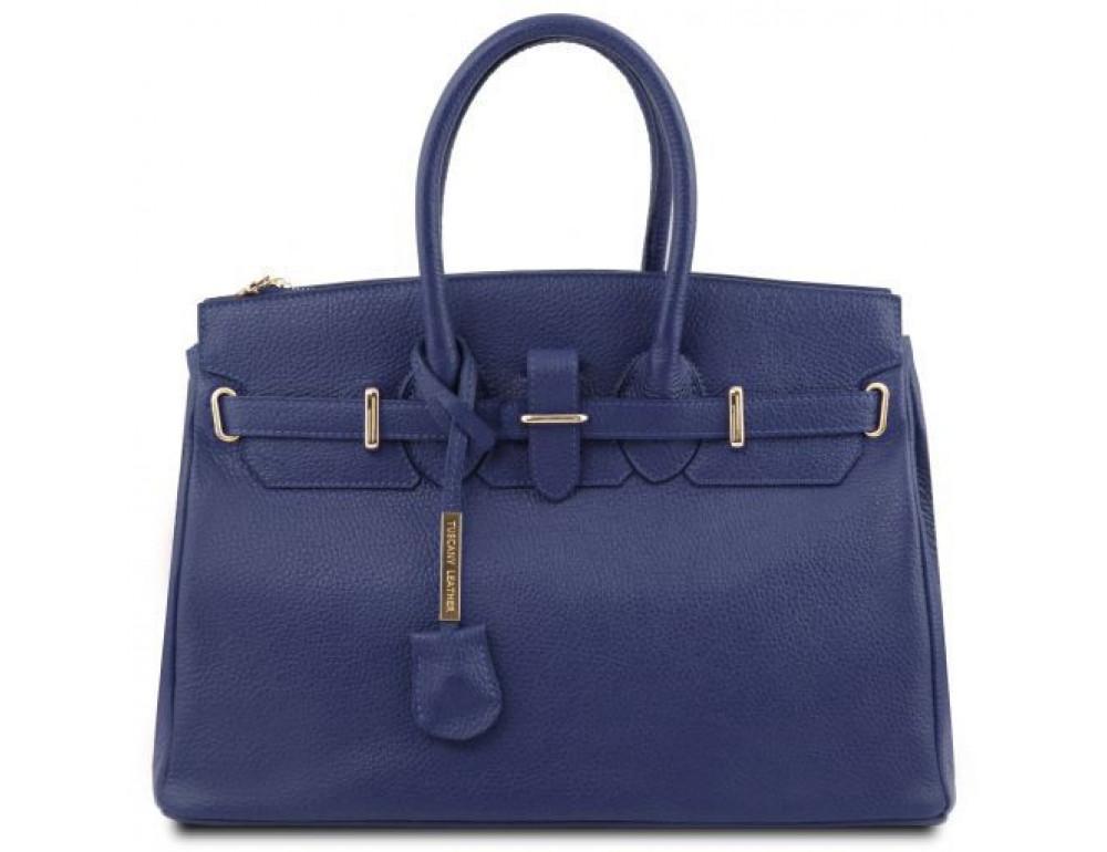 Тёмно-синяя женская кожаная сумка Tuscany Leather TL141529 Dark Blue - Фото № 1