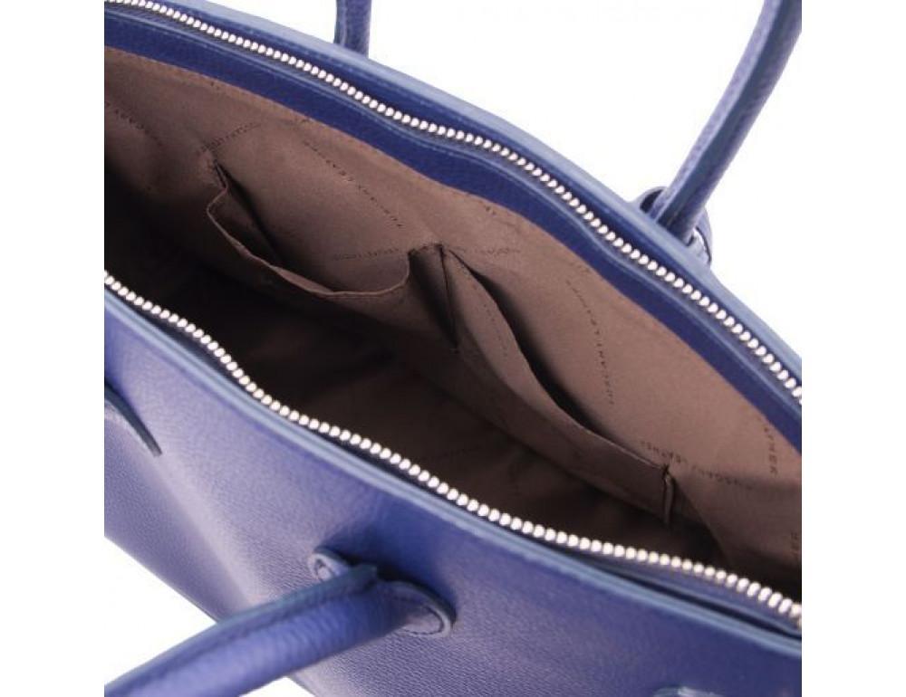 Тёмно-синяя женская кожаная сумка Tuscany Leather TL141529 Dark Blue - Фото № 5