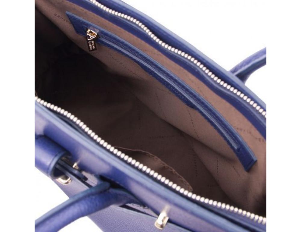 Тёмно-синяя женская кожаная сумка Tuscany Leather TL141529 Dark Blue - Фото № 6