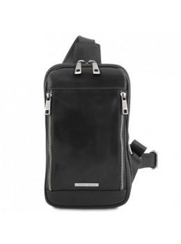 Молодёжная брендовая мужская сумка нагрудная Tuscany Leather TL141536 Black