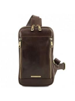 Тёмно-коричневая молодёжная сумка слинг Tuscany Leather TL141536 Dark Brown