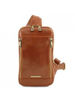 Светло-коричневая сумка слинг мужская Tuscany Leather TL141536 Med