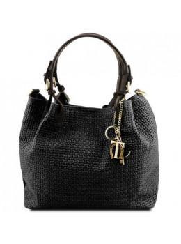 Чёрная женская кожаная сумка из плетёной кожи KEYLUCK Tuscany Leathe TL141573 Black
