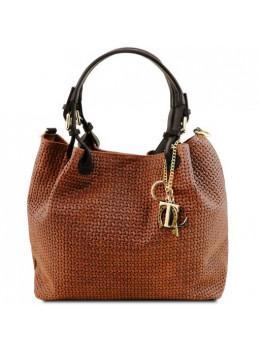 Жіноча шкіряна сумка коньячного кольору KEYLUCK Tuscany Leathe TL141573 CINNAMON