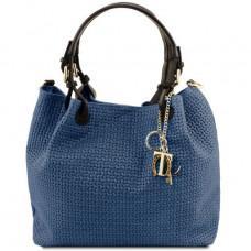 Большая женская кожаная сумка мешком KEYLUCK Tuscany Leathe TL141573 DARK BLUE