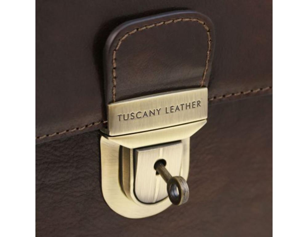 Черный кожаный портфель мужской Tuscany Leather TL141732 Black - Фото № 4