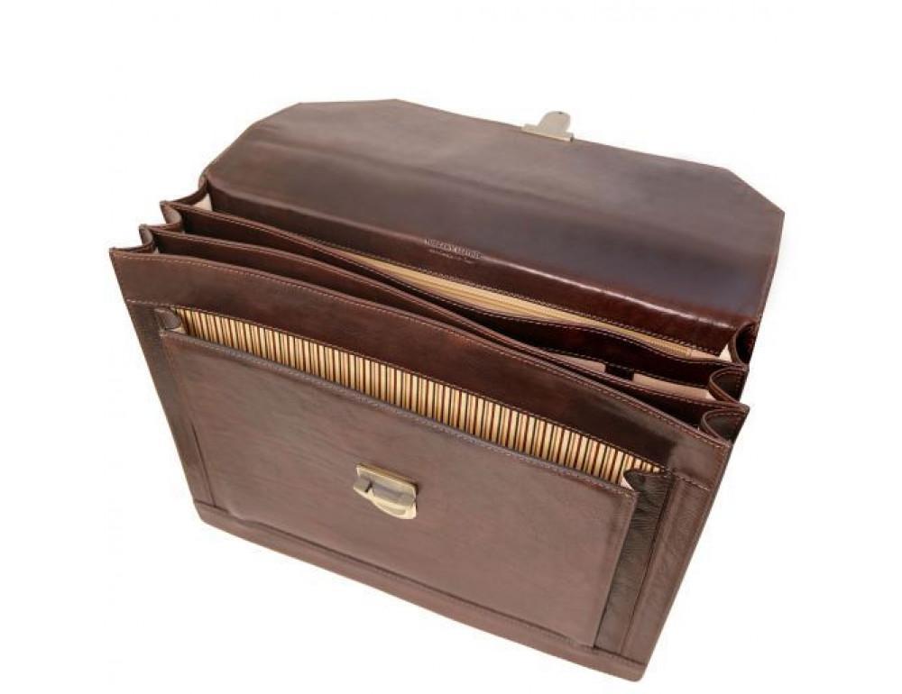 Черный кожаный портфель мужской Tuscany Leather TL141732 Black - Фото № 5