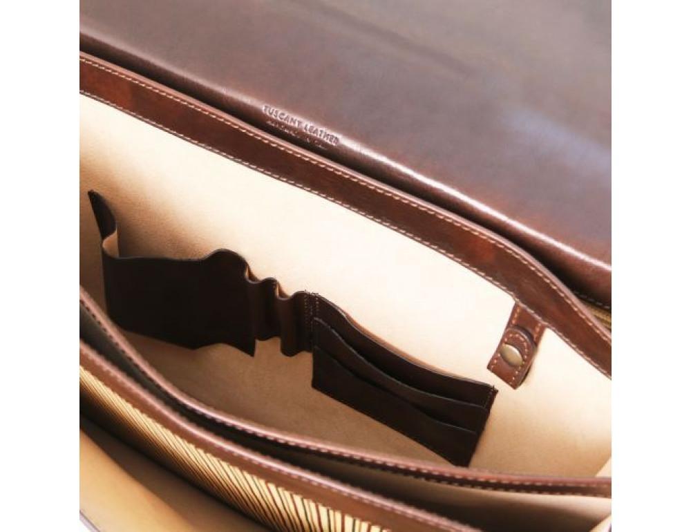 Черный кожаный портфель мужской Tuscany Leather TL141732 Black - Фото № 6