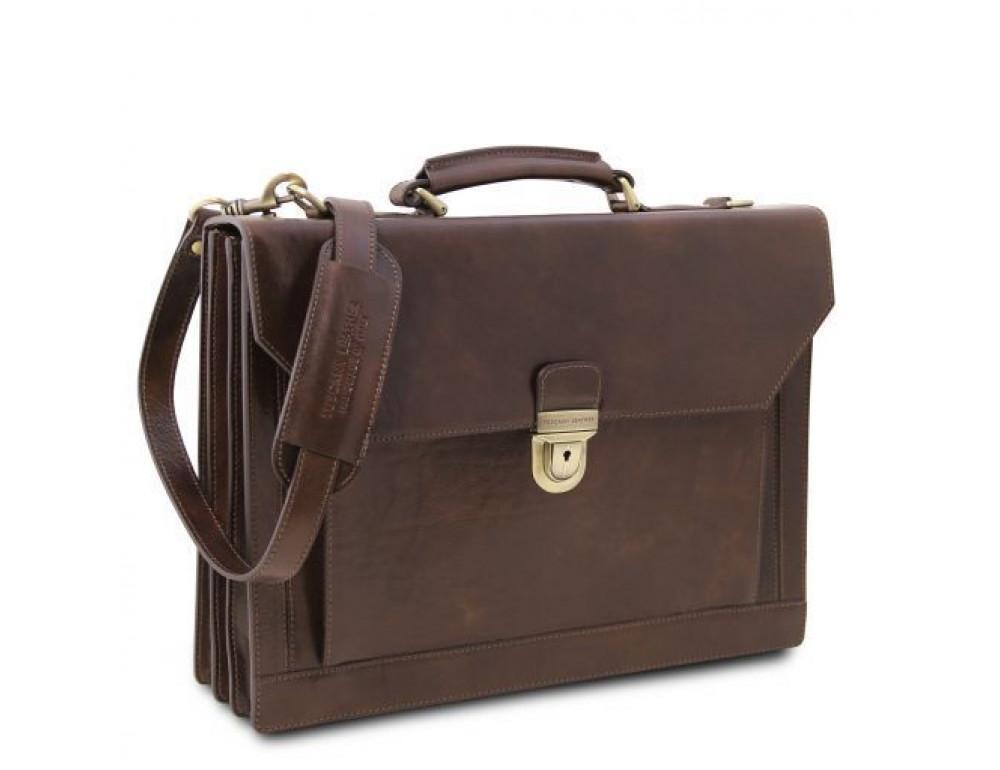 Черный кожаный портфель мужской Tuscany Leather TL141732 Black - Фото № 8