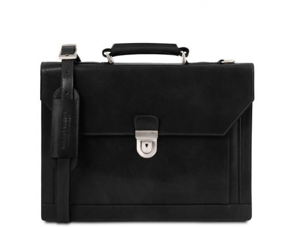 Черный кожаный портфель мужской Tuscany Leather TL141732 Black - Фото № 1