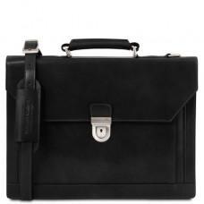 Черный кожаный портфель мужской Tuscany Leather TL141732 Black