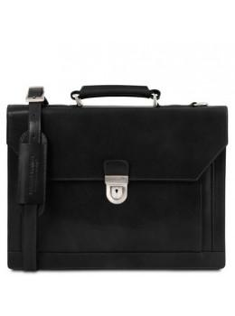 Чорний шкіряний портфель чоловічий Tuscany Leather TL141732 Black