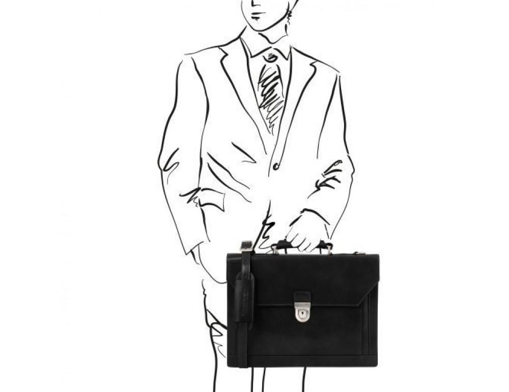 Черный кожаный портфель мужской Tuscany Leather TL141732 Black - Фото № 2