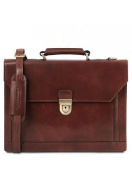 Коричневый кожаный портфель Tuscany Leather TL141732 Brown