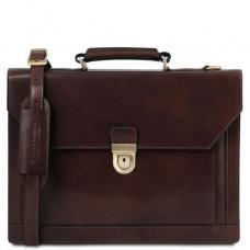 Тёмно-коричневый кожаный мужской портфель Tuscany Leather TL141732 Dark Brown