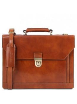 Светло-коричневый кожаный портфель мужской Tuscany Leather TL141732 Med