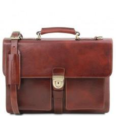 Коричневый кожаный портфель мужской Tuscany Leather TL141825 Brown