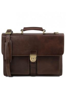 Тёмно-коричневый итальянский портфель из натуральной кожи Tuscany Leathe TL141825 Dark Brown