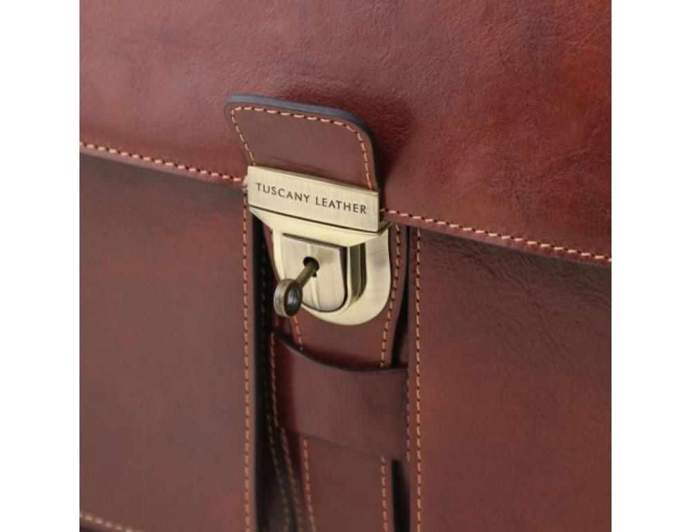 Большой чёрный портфель Tuscany Leathe TL141825 Black - Фото № 6