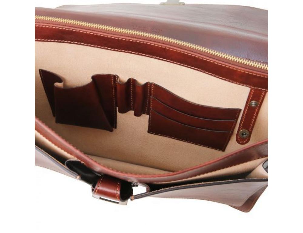 Большой чёрный портфель Tuscany Leathe TL141825 Black - Фото № 9