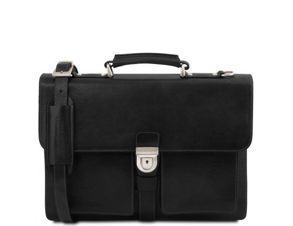 Большой чёрный портфель Tuscany Leathe TL141825 Black - Фото № 1