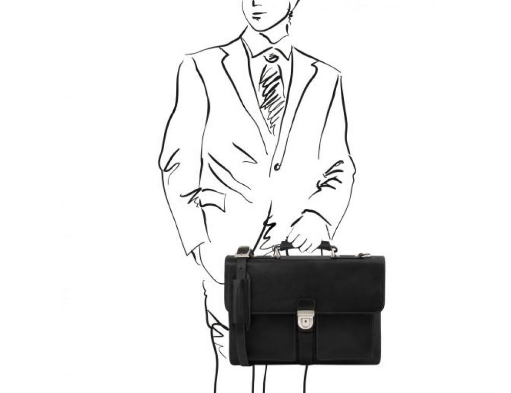 Большой чёрный портфель Tuscany Leathe TL141825 Black - Фото № 2