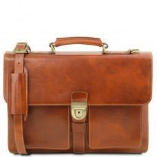 Светло-коричневый мужской кожаный портфель Tuscany Leather TL141825 Med