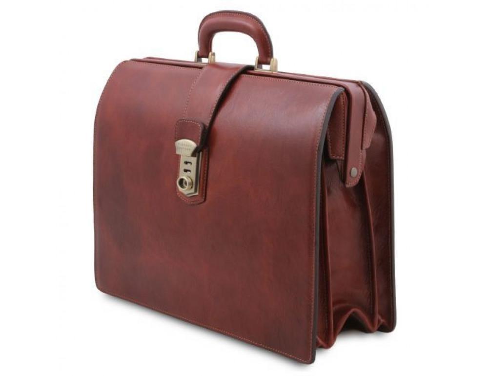 Светло-коричневый кожаный саквояж-портфель Tuscany Leather TL141826 Med - Фото № 3