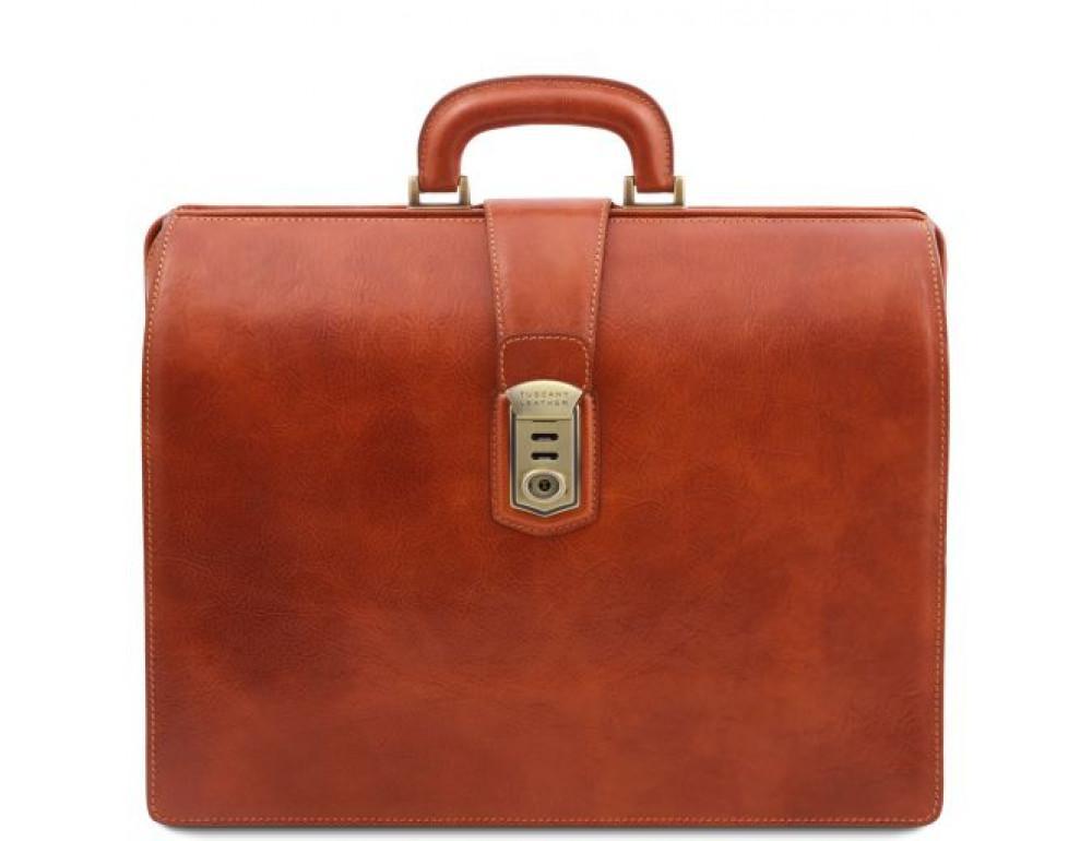 Светло-коричневый кожаный саквояж-портфель Tuscany Leather TL141826 Med - Фото № 1