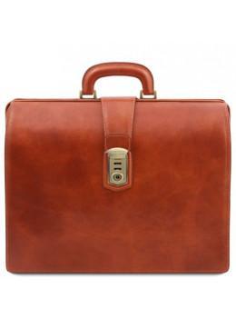 Светло-коричневый кожаный саквояж-портфель Tuscany Leather TL141826 Med