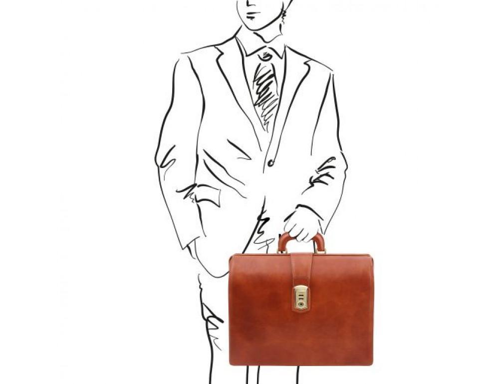 Светло-коричневый кожаный саквояж-портфель Tuscany Leather TL141826 Med - Фото № 2