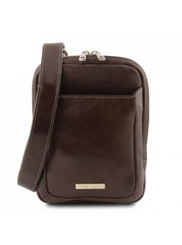 Тёмно-коричневая мужская кожаная сумка мессенджер Tuscany Leather TL141914 Dark Brown
