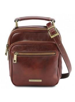 Коричневая маленькая мужская сумочка через плечо Tuscany Leather TL141916 Brown