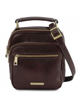 Тёмно-коричневая мужская барсетка из натуральной кожи Tuscany Leather TL141916 DARK BROWN