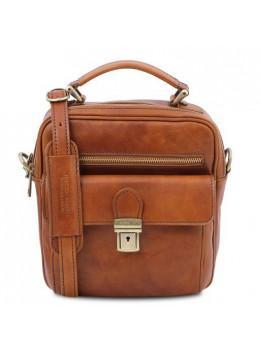 Светло-коричневая кожаная сумка барсетка Tuscany Leather tl141978 MED